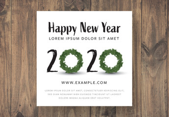 Happy New Year Card Layout with Christmas Wreaths