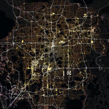 Map Orlando city. Florida. USA