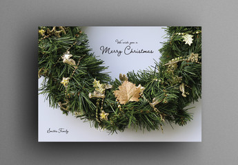 Christmas Card Layout with Wreath Image