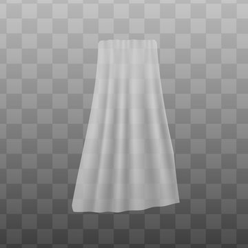 White sheer fabric curtain realistic vector illustration mockup isolated.
