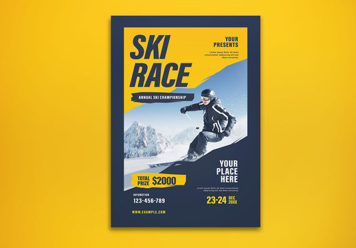 Ski Race Themed Graphic Flyer Layout