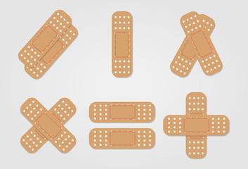 medical bandaid illustration set design