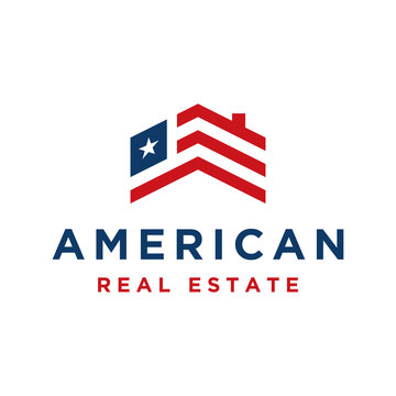 American real estate logo design with element roof and flag USA isolated on white background - vector