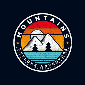 Badge Mountain logo design inspiration, Mountain illustration, outdoor adventure . Vector graphic print for t shirt and other uses. - Vector