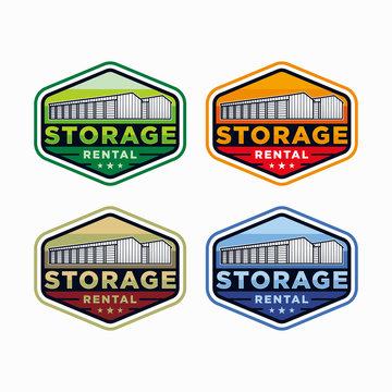 Badge storage rental logo design inspiration set vector. Garage logo vector