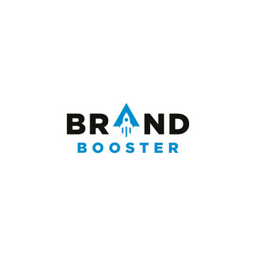 Brand booster typography logo vector with rocket element
