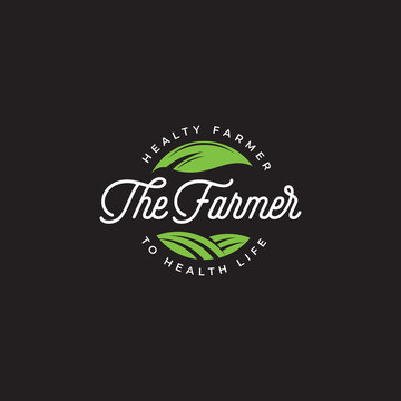 The farmer logo vector, farm badge logo template, Green farmer logo, health farm label
