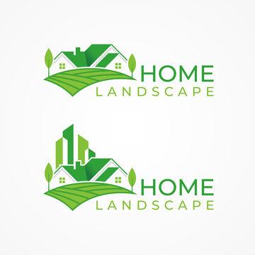 Green house logo vector, green home landscape logo template