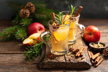 Christmas mulled apple cider with cinnamon and anise, traditional winter warming hot drink,...