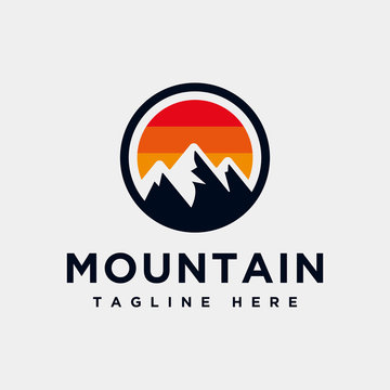 Mountain logo design inspiration, Mountain illustration, outdoor adventure . Vector graphic print for t shirt and other uses. - Vector