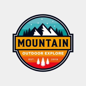 Badge Mountain logo design inspiration, Mountain illustration, outdoor adventure . V