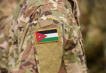 Flag of Jordan on military uniform. Army, armed forces, soldiers. Collage.