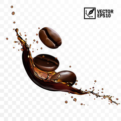 Realistic transparent isolated vector falling splash of coffee with beans, editable handmade mesh