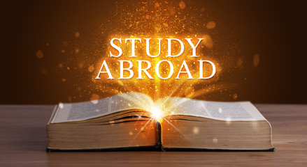STUDY ABROAD inscription coming out from an open book, educational concept