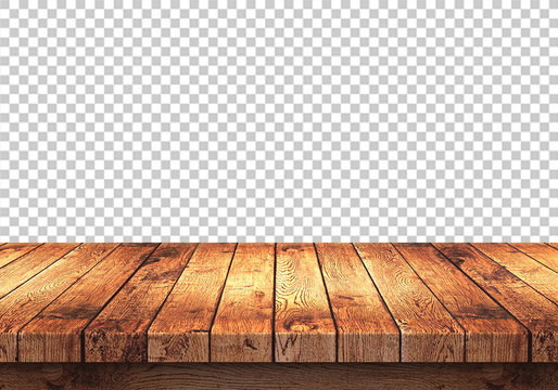 wood table top isolated on transparent background