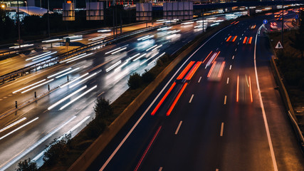 Wall Murals Night highway speed morning traffic motion blur in generic highway