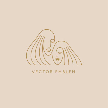 Vector abstract logo design template in trendy linear minimal style, emblem for beauty studio and cosmetics -  female portraits, beautiful women's face - sisters or twins