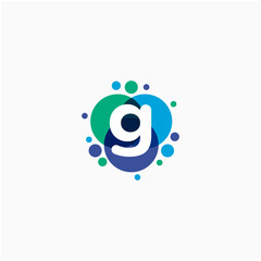 initial letter G with dot abstract logo designs. molecule Logo design , Lab Logo Design Element , Design Vector with Dots concept. - VECTOR