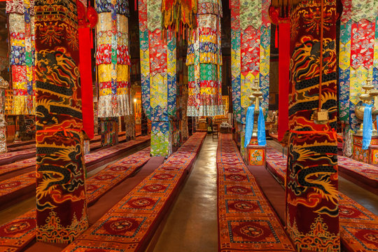 Interior of the main hall in Drepung Monastery near Lhasa, Tibet