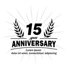 15 years logo. Fifteen years anniversary vector and illustration design template.