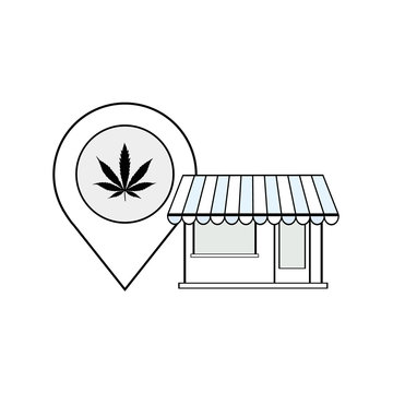 Dispensary Store Map Location Address vector black line art symbols on white background for commercial business medical marijuana cannabis health services website.
