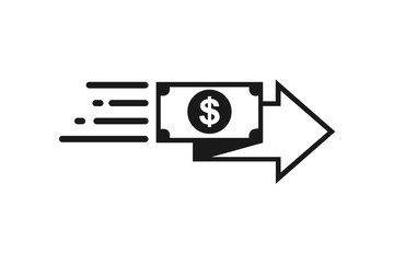 fast money transfer icon, quick money transfer icon, fast pay icon vector illustration