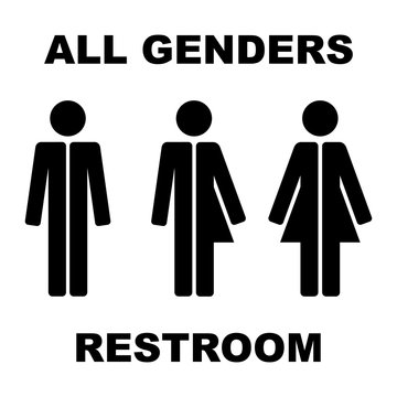 Symbols of male, female, transgender. Inscription ALL GENDERS RESTROOM. Abstract concept, icon. Vector illustration on white background.