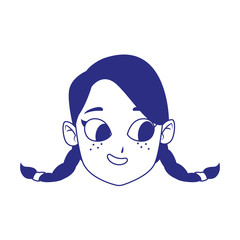 cute girl with braids, flat design