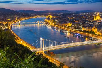 Aerial view Budapest with Elizabeth Bridge and Chain Bridge over Danube