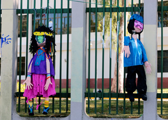 Puppets depicting Nicaraguan President Daniel Ortega and Vice-president Rosario Murillo are seen during a protest against Nicaraguan President Daniel Ortega's government at the Central American University (UCA) in Managua