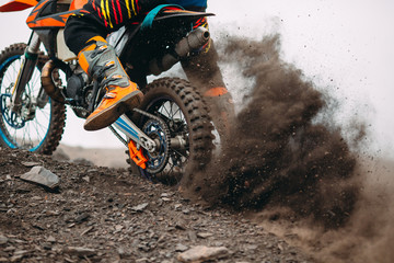 Details of debris in a motocross race . Fototapete