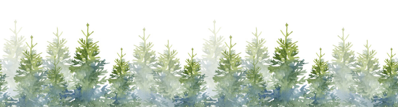 Watercolor seamless illustration of Christmas trees and snow. Hand-drawn illutration on the white background