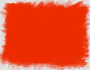 Pure red background with jagged white frame.