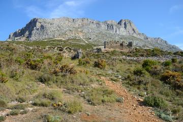Sierra de Bernia Loop Track passing the Fort of Bernia, Costa Blanca, Spain
