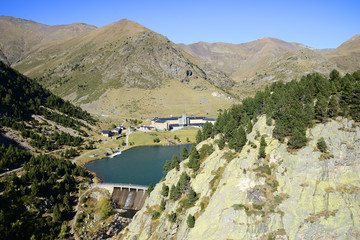 Nuria as seen from the Queralbs to Vall de Nuria Trail, Pyrenees mountain range, Spain