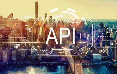 API concept with the New York City skyline near midtown