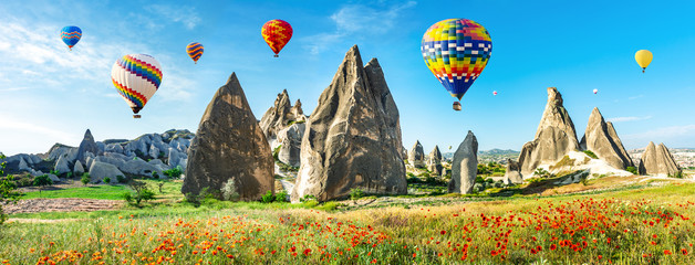 Poster Ballon Travel concept. The great tourist attraction of Cappadocia - balloon flight. Cappadocia is known around the world as one of the best places to fly with hot air balloons. Goreme, Cappadocia, Turkey. Ar