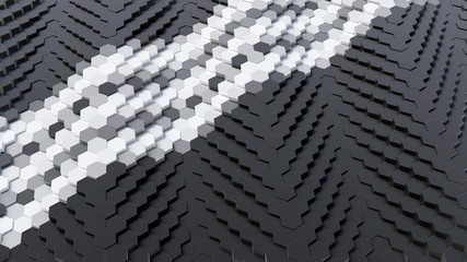 Black Hexagonal Array with Tripple White Lines 3D Render