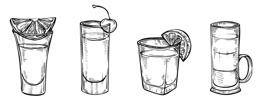 Hand drawn sketch set of alcoholic cocktails. Glass of tequila, vodka, cocktail, shot drink. Vector illustration on white background