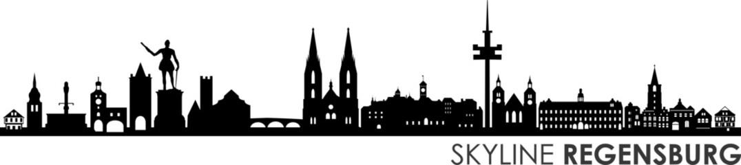 Fototapete - Regensburg City Skyline Vector Silhouette