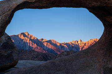 Alpenglow sunrise on the Range of Light Eastern Sierra Mountains and Mt Whitney.