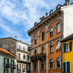 Luxury buildings and houses at Sant Antonio square in Locarno historic center,  Canton Ticino, Switzerland