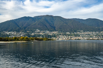View of Locarno from the ferry sailing on Lake, Canton Ticino, Switzerland