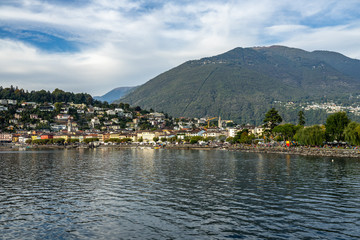 View of Ascona from the ferry sailing on Lake, Canton Ticino, Switzerland