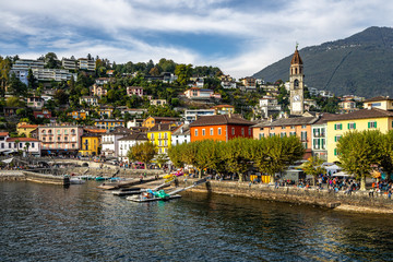 View of Ascona, a typical swiss resort town on the shores of the Lake Maggiore, Canton Ticino, Switzerland
