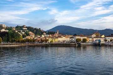 View of Luino from a ferry boat cruising on Lake Maggiore, Lombardy, Italy