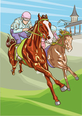 Horse racing competition. Vector illustration. Derby.