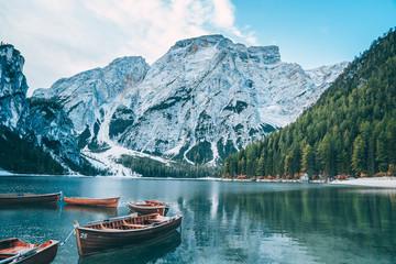 Türaufkleber Pool Braies Lake in Dolomites mountains, Sudtirol, Italy. Lake Braies is also known as Lago di Braies