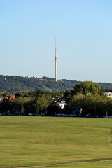 Wall Murals Nasa Dresden Elbwiesen sunny late summer day empty copy space television tower