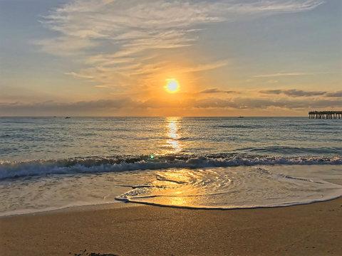 morning at the Miami ocean beach